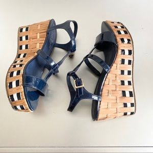 Kate Spade Navy blue wedge sandals